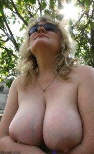Vix with her tits out in the sun