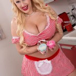 Big boobed Angel Wicky naked masturbating in the kitchen baking her cute cupcakes