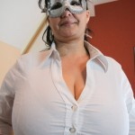 New model Julia masked with huge heavy hanging tits on OMGBigBoobs