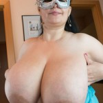 Amateur milf mature old older brunette masked masquerade huge big large mammoth mega mammaries breasts mams boobs tits belly tummy BBW ugly plain