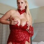 Big Boobed Blonde Milf Karen Fisher Topless Horny Devil for Halloween