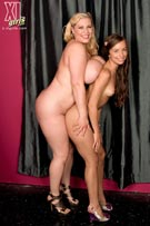 A-cup tits vs J-cup boobs in small vs large breast size comparison photos with 32A Sophia Sutra & 40J Renee Ross at XLgirls.com
