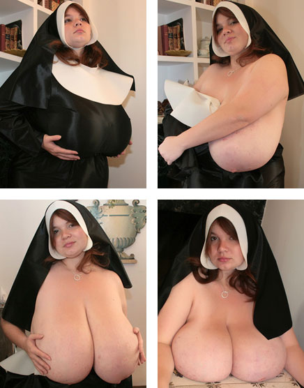 Topless Nun with Giant Tits