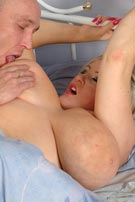 Leah-Jayne doggy-style sleepy sex at BustyBritain.com