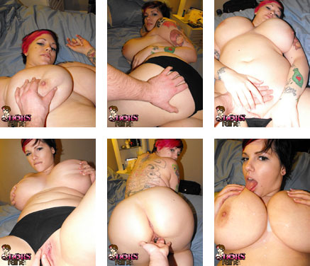 Cum on Dors Feline felt up in bed and gets cum on her tits at  DorsFeline.com