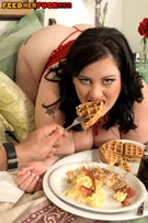 Glory Foxxx feeding & fucking in busty plumper fat feeder fetish photos from FeedHerFuckHer.com