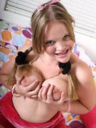 Busty Teen Girl with Braces Retainer and Big Boobs Kissy from YoungBusty.com