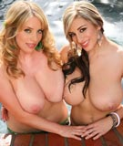 Maggie Green 36FF & 28FF September Carrino big boobs blondes going tit-to-tit with FF-cup breasts in big tits hot tub party pics from SeptemberCarrino.com