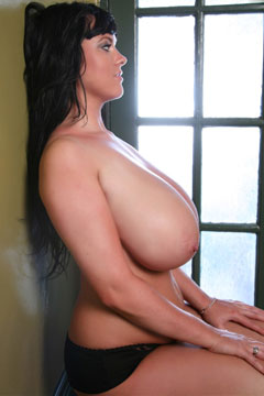 Rachel Aldana 32L - L-cup Slim and Stacked Girl with Massive Breasts Sideways View Topless Tits from RachelAldana.com