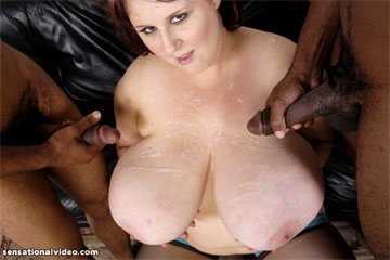 Sapphire lets two cocks cum on her tits simultaneously in hardcore BBW interracial threesome videos from Plumper Pass - PlumperPass.com